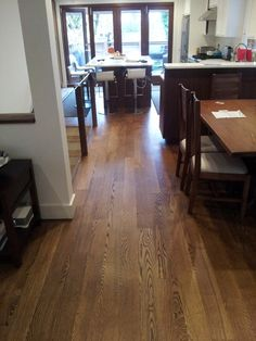 """5 inch, white oak, select and better, solid hardwood flooring. Stained """"Antique Brown"""" finished with Duraseal penetrating oil Modern Wood Floors, Living Room Hardwood Floors, Maple Hardwood Floors, Hardwood Floor Colors, Living Room Wood Floor, Wood Floor Kitchen, Engineered Hardwood Flooring, Kitchen Flooring, Laminate Flooring"""