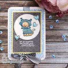 Crafty Ellen H: Cupcake Challenge - Cats | Sweater Weather Stamp set by Newton's Nook Designs #newtonsnook
