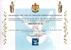 Title of Ambassador of Peace - Orgaran - BRAZIL - Título de Embaixador da Paz - ORGARAN - Brasil