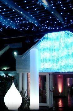 Una Ambientacion al Mejor Estilo LAPKURZ! Inflables Lotus y Columna un cielo con redes de luz azules y una Cascada de luces en blanco y en azul con secuencias diferentes dandole un movimiento sin igual.-