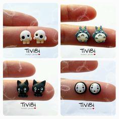 Ghibli stud earrings fanart by tivibi.deviantart.com on @deviantART