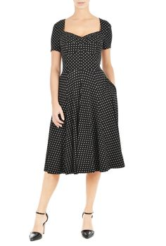 Polka dot print jersey dress | eShakti