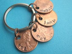 father's day gift!   Family Penny Keychain Hand Stamped Established by ShopTheCopperFox, $15.00