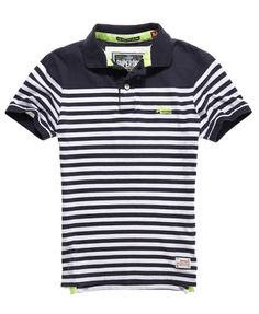 3744a742f3a96f Mens - Dropped Breton Polo in Eclipse Navy Mix. Polo Shirt StylePolo ...