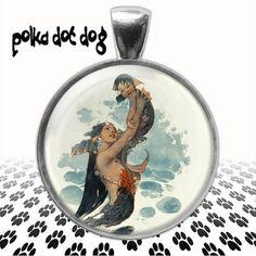 Mermaid Mother and Baby  Large Mermaid glass pendant by Polkadotdog on Etsy