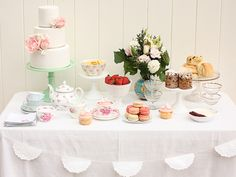 """So light and elegant. Love the cake, the macaroons, the flowers and the tea pot. """"Tea Party Guest Dessert Feature"""""""