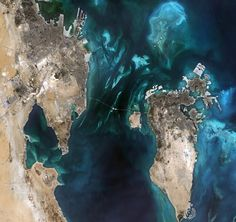 This beautiful, natural-colour image features the small nation of Bahrain and parts of eastern Saudi Arabia The Beautiful Country, Beautiful World, Beautiful Places, 2016 In Pictures, Hubble Pictures, Arab States, Eye Of The Storm, Traditional Doors, Earth From Space