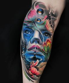 It's of an airplane towing a Salvador Dali tattoo into space. Bild Tattoos, Leg Tattoos, Body Art Tattoos, Sleeve Tattoos, Cool Tattoos, Tatoos, Salvador Dali Tattoo, Colour Tattoo, Water Flowers