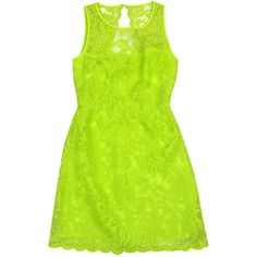 Pre-owned Laundry- Neon Green Lace Overlay Dress Sz 0 ($49) ❤ liked on Polyvore featuring dresses, green party dress, holiday party dresses, party dresses, cocktail party dress and cocktail dresses