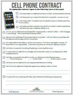 Cell Phone Contract (+ES) - Thinking about getting a cell phone for your child? Make sure to use this cell phone contract to explore appropriate conduct and behavior! Coping Skills, Social Skills, Parenting Teens, Parenting Hacks, Rules For Kids, Chores For Kids By Age, Child Phone, Screen Time For Kids, Internet Safety