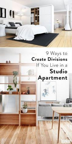 9 Ways to Create Divisions If You Live in a Studio Apartment Install a temporary partition, use bookcases or open shelving units, and more! There is a ton of great ways to make a studio apartment feel bigger and more compartmentalized! Studio Apartment Divider, Studio Apartment Furniture, Studio Apartment Kitchen, Studio Condo, Studio Apartment Layout, Apartment Office, Studio Apartment Decorating, Studio Living, Studio Interior