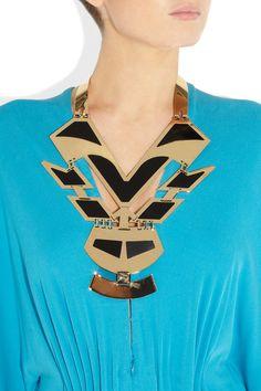 ETRO  Oversized geometric polished gold-tone #necklace