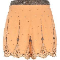 orange embellished shorts