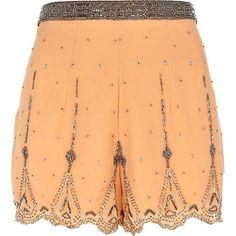 orange embellished shorts - smart shorts - shorts - women - River Island
