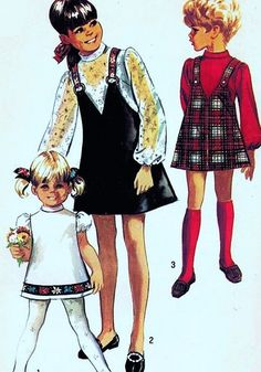 1960s Simplicity 8529 Cute Kawaii Girls Dress and V Neck Jumper Vintage Sewing Pattern FACTORY FOLDED UNCUT