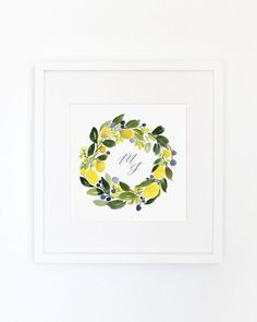 Choose to add a personal touch to your artwork! Available with or without a monogram, this is an archival inkjet print of the original watercolor. Floral Wreath Watercolor, Watercolor Paintings, Original Paintings, Watercolour, Lemon Crafts, Monogrammed Stationery, Lemon Wreath, Monogram Wreath, Artsy