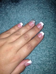 Wedding day manicure with bling accent nail!