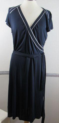 Wrap Dress Ann Taylor 12 Navy Blue White trim Polyester Blend Knee Length #AnnTaylorLOFT #FauxWrapDress #WeartoWork