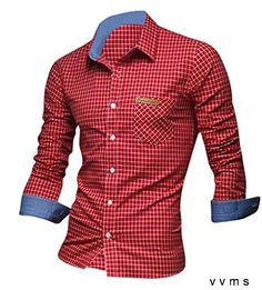 jeansian Mens Slim Fit Long Sleeves Casual Shirts 8615 Red L