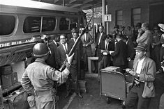 On May 1961 Freedom Riders get ready to board a Greyhound bus in Montgomery, Alabama. Photo Essay Examples, Freedom Riders, Racial Equality, Bus Travel, Civil Rights Movement, African American History, Higher Education, Black History, Civilization