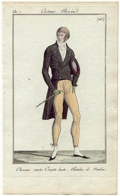 Journal des Dames et des Modes, 1797. Look at those trousers! Nice and tight! Pointy shoes and green gloves are a nice addition!