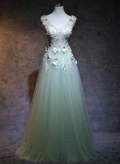Green Formal Dresses, Green Wedding Dresses, Unique Prom Dresses, Beautiful Prom Dresses, Light Green Dresses, Pretty Dresses, Fairy Prom Dress, Tulle Prom Dress, Sage Green Dress