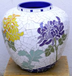 Ceramic chrysanthemum mosaic pot