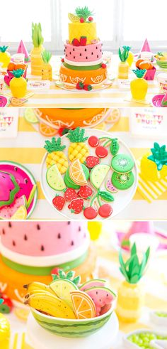 Fruity Birthday Party: Blakely Turns Two-tti Fruity Second Birthday Party! Two-tti Fruity Second Birthday Party! Fruit Birthday, Girl 2nd Birthday, Summer Birthday, 2nd Birthday Parties, Birthday Themes For Kids, Second Birthday Ideas, Frozen Birthday, Birthday Ideas For Kids, Birthday Cakes