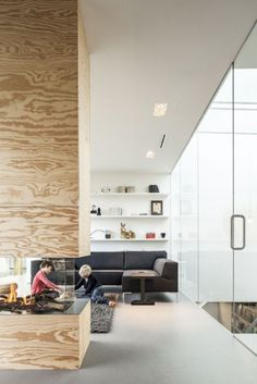 House Apartment: Villa V, A Modern Country Home Design by Paul de Ruiter . Vast Living Room Design With Glass Wall Modern Interior, Interior Architecture, Modern Decor, Living Area, Living Spaces, Home Fireplace, Fireplace Glass, Wooden Fireplace, Fireplaces