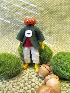 Miniature Holiday Pumpkin Head Doll by FreshProduceDesigns on Etsy