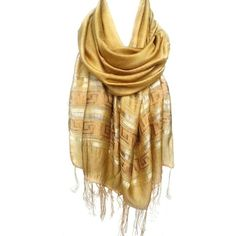 Polyvore ❤ liked on Polyvore featuring accessories, scarves, yellow scarves, shawl scarves, yellow shawl, metallic shawl and metallic scarves