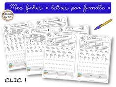 Du graphisme à l'écriture, dessine-moi une lettre Les ponts : n / m / p Les coupes : i / u / t / v / w / y Les rondes : c / o / a / d / q / g Les boucles : e / l / h / b / k /f Les lettres restantes : r / z / s / x. Au premier trimestre je place en début de ligne une amorce situant les chemins empruntés par les lettres. Learning Resources, Kids Learning, French Handwriting, Grande Section, Teaching French, Writing Practice, Home Schooling, Learn French, French Language