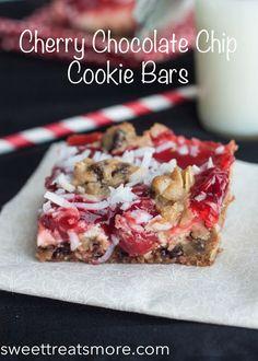 Cherry Chocolate Chip Cookie Bars - Oh Sweet Basil