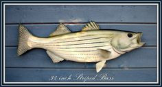STRIPED BASS 34 inch fish wood carving wall mount 34w by WOODNARTS, $130.00