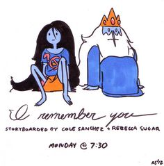 All new Adventure Time, I REMEMBER YOU! Monday at 7:30!!!  I love to write for Marceline, and Cole loves to write for Ice King, so we went all out with this one!!!   EDIT: Had the date wrong—that's Monday 10/15!!!