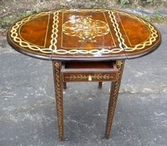 QUALITY Charles X style Pembroke burl walnut table Walnut Table, Small Tables, Antiques, Furniture, Home Decor, Image, Style, White Marble, Marquetry