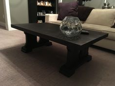 Solid fir coffee table using the sho sugi ban technique to darken the wood. Unique Furniture, Wood Projects, Coffee, Table, Design, Home Decor, Kaffee, Decoration Home, Room Decor