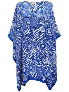 Issa Royal Blue Printed Poncho