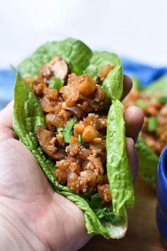 Vegan Lettuce Wraps held in my hand