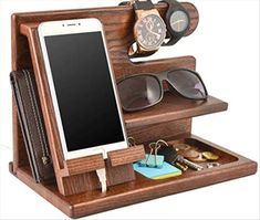 Wood Phone Docking Station Ash Key Holder Wallet Stand Watch Organizer Men Gift Husband Wife Anniversary Dad Birthday Nightstand Purse Father Graduation Male Travel Idea Gadgets Solid by Teslyar Wood Phone Holder, Wood Phone Stand, Charging Station Organizer, Watch Organizer, Key Holder Wallet, Gifts For Husband, Husband Wife, Dad Birthday, Birthday Gifts For Man