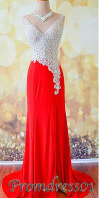 #promdress01 2015 sparkly side slit red chiffon prom dress for teens. A cute ball gown for you.