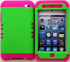 """myLife 2 Layered Protection Hybrid Case for Apple iPod 4 iTouch {Lime Green and Magenta Pink """"Simple Basic Modern"""" Three Piece SECURE-Fit Rubberized Gel} myLife Brand Products http://www.amazon.com/dp/B00VKWQKJ2/ref=cm_sw_r_pi_dp_eddmvb1XZJA3T"""