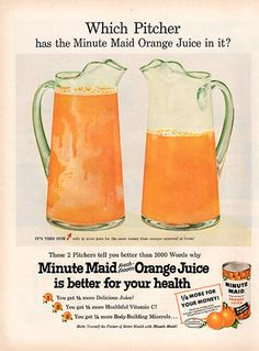 1956 Minute Maid Frozen Orange Juice Original Food and Drink Print Ad -An original vintage 1956 advertisement, not a reproduction -Measures approximately x to x -Ready for matting and