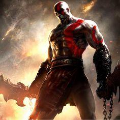 Arte sensacional do Kratos, do game God of War