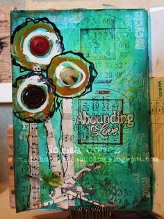 Art Print - Abounding Love - 9 x 12 inspirierende Kunst - Mixed-Media - Wand-Kunst - skurrilen Blume - inspirierende Geschenke - Blumen Kunst