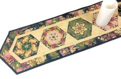 Floral Quilted Table Runner in Green Rose Pink by QuiltSewPieceful