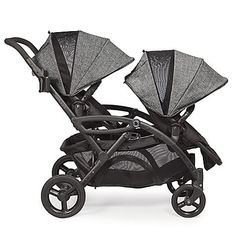 The Contours Options Elite Tandem Stroller features reversible stadium seating and offers up to 7 seating configurations for two children and 2 infant car seats. New design now comes with dynamic front and rear wheel suspension. #infantcarseatandstroller