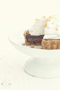 poppy seed cake with marzipan filling & vanilla meringue