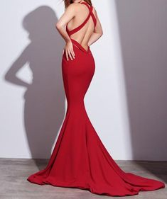 Sexy Red Mermaid Long Prom Dress Formal Evening Dress with Criss Criss Back PM731