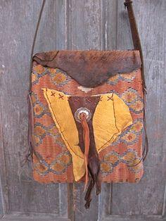 kaje One World handmade handbags using vintage ethnic textiles, bridle leather, southwest sterling silver